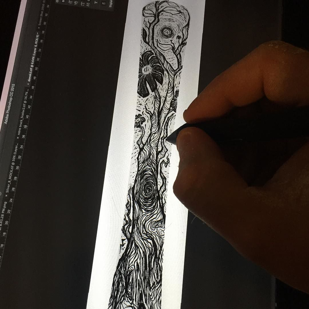 Working on a new snowboard graphic. Coming soon! #sharingthestoke #stsdesign #illustration #snowboard #cintiq #wacom