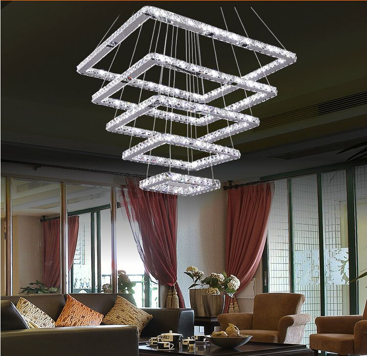 Modern 5 ring Dimming Ceiling lamp Square Crystal LED