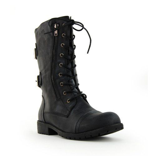Women Military Boot Distress Black Nature Breeze, $26.99