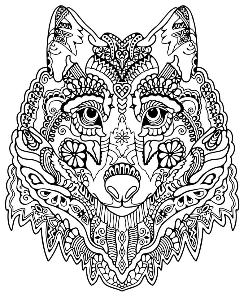 Wolf Abstract Doodle Zentangle Coloring pages colouring adult