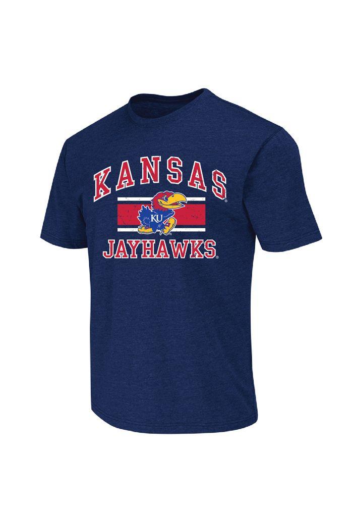 Kansas Jayhawks T-Shirt - Mens Navy Blue Arch Stripe Logo T-Shirt http://www.rallyhouse.com/shop/kansas-jayhawks-colosseum-kansas-jayhawks-tshirt-mens-navy-blue-arch-stripe-logo-tshirt-15039910 $19.99