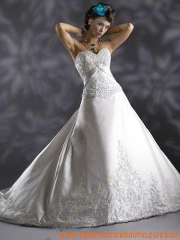 A-linie Lange Luxuriöse Brautkleider aus Taft mit Schleppe ...