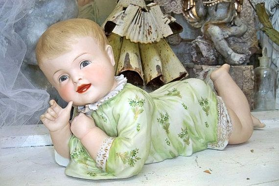 Piano baby vintage porcelain beautiful face by AnitaSperoDesign, $175.00
