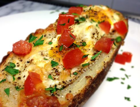 Egg and Cheese Stuffed Baked Potato Skin Boats