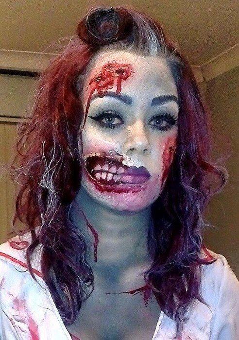 Zombie Nurse Makeup Zombie Krankenschwester Gruselige Halloween