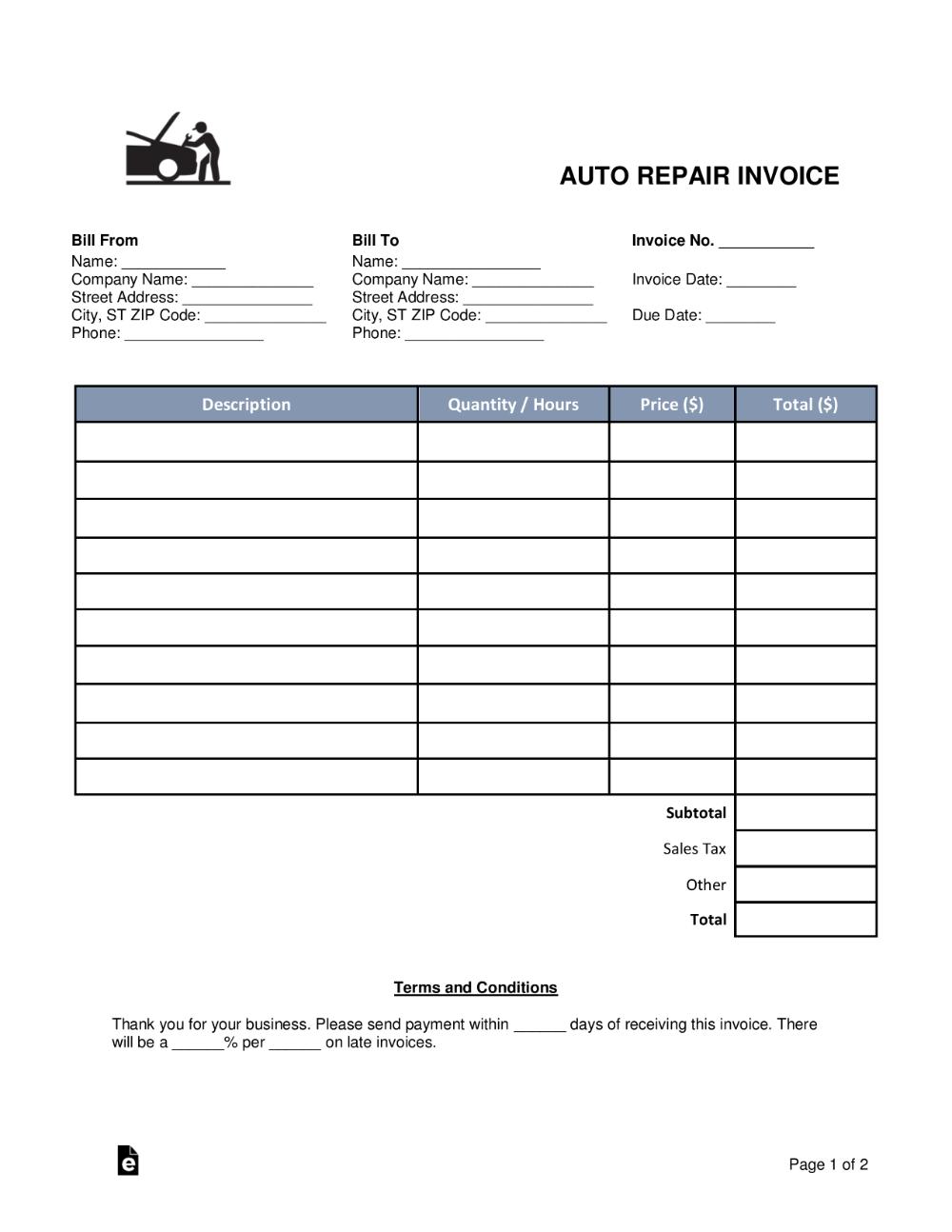 Auto Repair Invoice Template Pdf Invoice Template Word Invoice Template Auto Repair Estimates