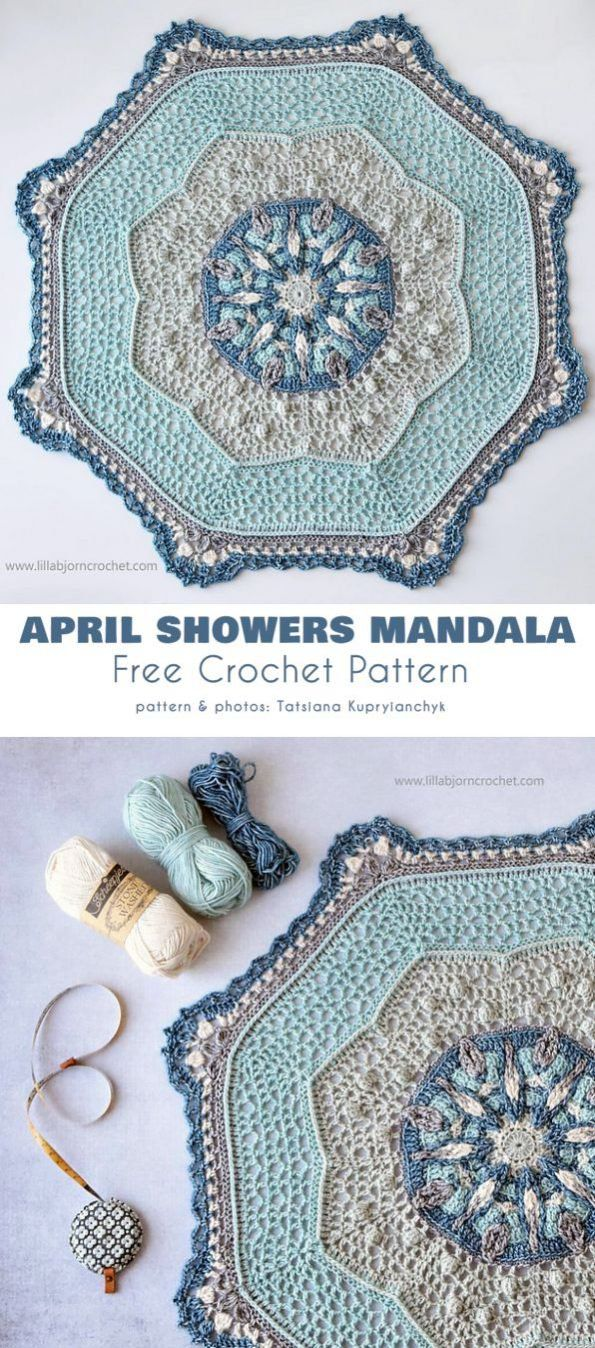 April Shower Mandala Free Crochet Pattern #crochetmandalapattern