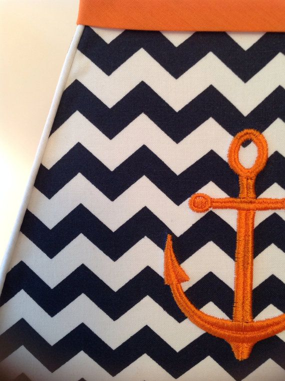 Nautical Anchor Lamp Shade Navy Chevron Orange Trim On