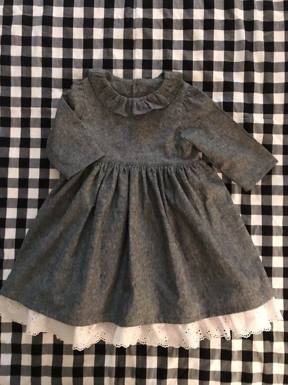 Girls Gray Linen Dress, Girls Linen Dress, Gray Linen Dress, Toddler Dress, Girl Dress, Baby Clothes, 3/4 Sleeve Dress, Linen cotton Dress