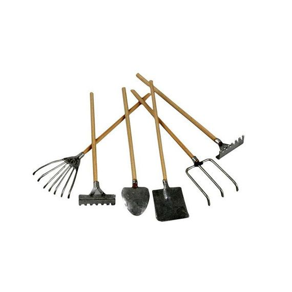 Mini Garden Tools Set Of 5 Spade Fork Hoe Rake Doll