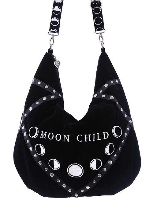 ead4f00e9423 Restyle Moon Child Black Velvet Hobo Bag Purse Moon Phases ...