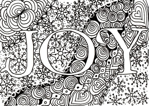 Printable DIY Zendoodle JOY Card Pdf From Kauai Hawaii Mele Kalikimaka Christmas Doodle Black White Zentangle Inspired Art