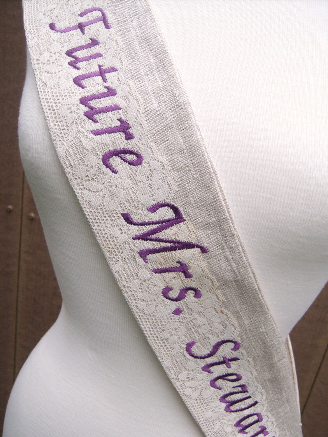 Id love this to wear at my showers & in new orleans!!!! The Vintage Custom embroidered Sash for by bohemianblue on Etsy, $30.00