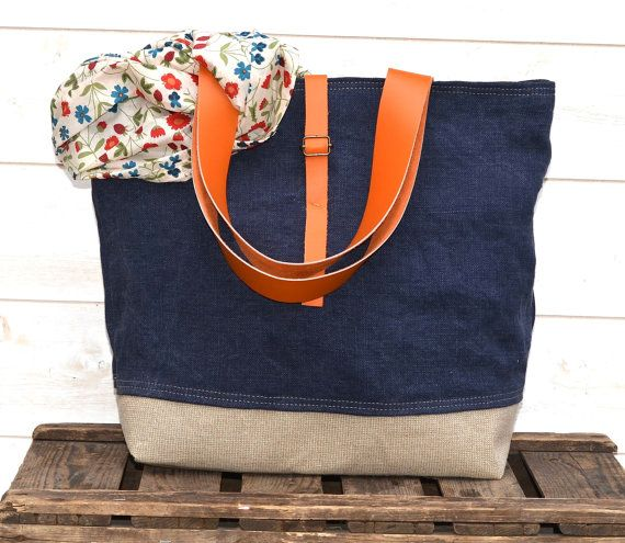 Eco friendly  French tote bag  with Orange Leather