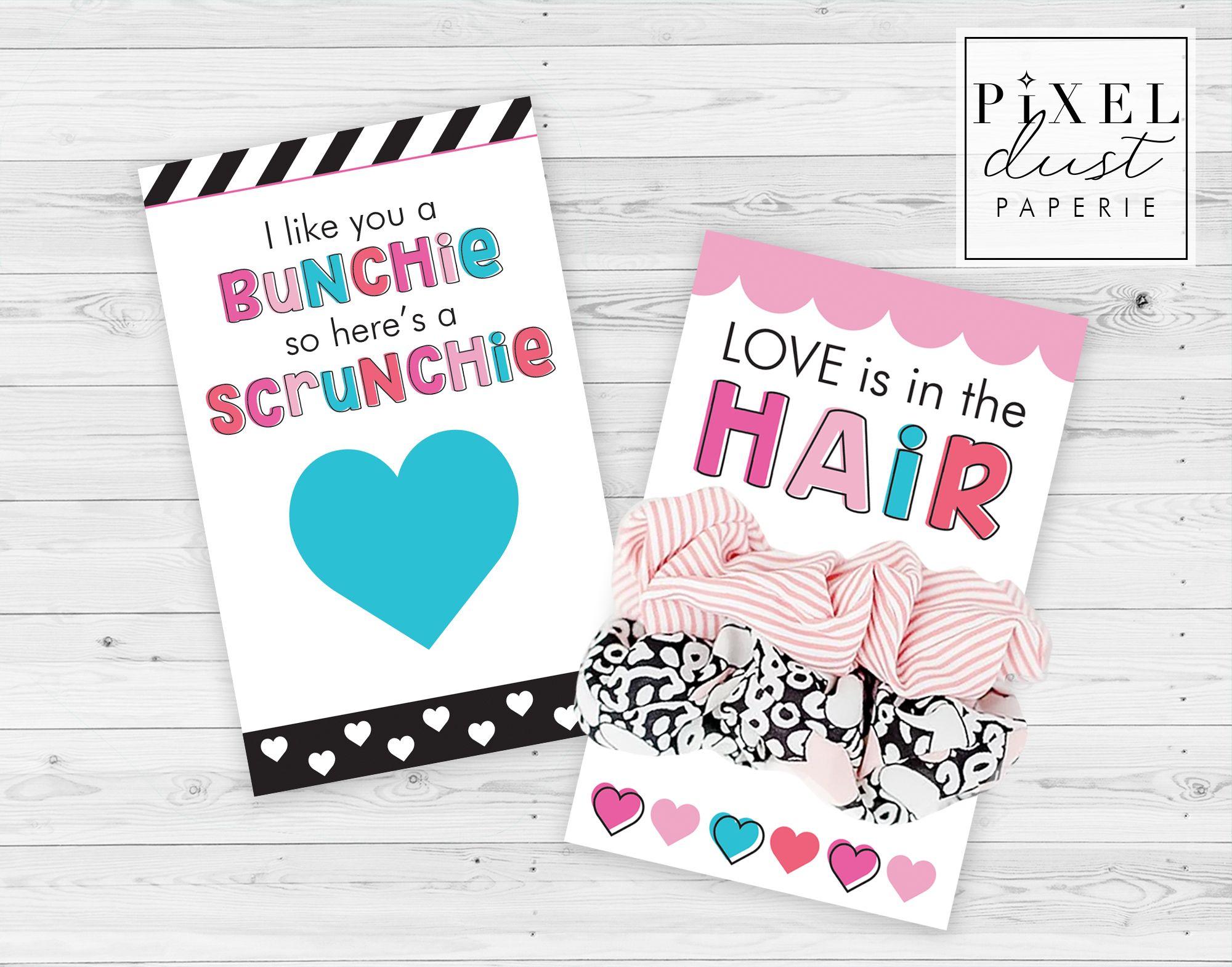 Printable Valentine Scrunchie Cards For Girls Printable Valentines Cards Valentines Cards Girl Valentine Cards