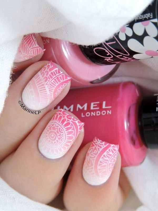 Gradient Pink and White Lace Nail Design.