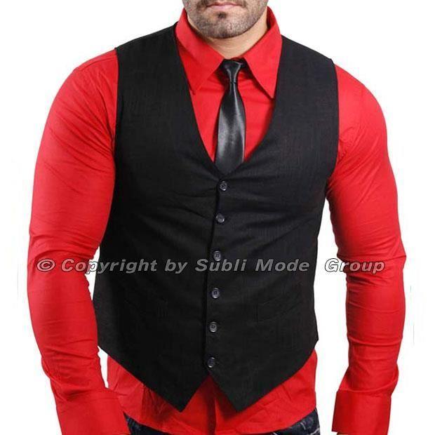 Gilet chemise cravate homme noir rouge noir rouge - Cravate noire homme ...