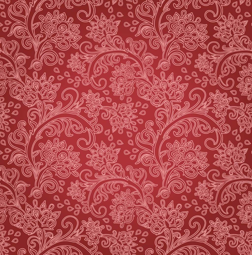 Free Vintage Floral | Red Floral Background ...