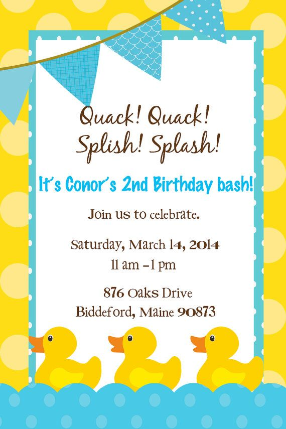 Items Similar To Rubber Duck Birthday Invitation On Etsy Duck Birthday Rubber Duck Birthday Rubber Ducky Birthday