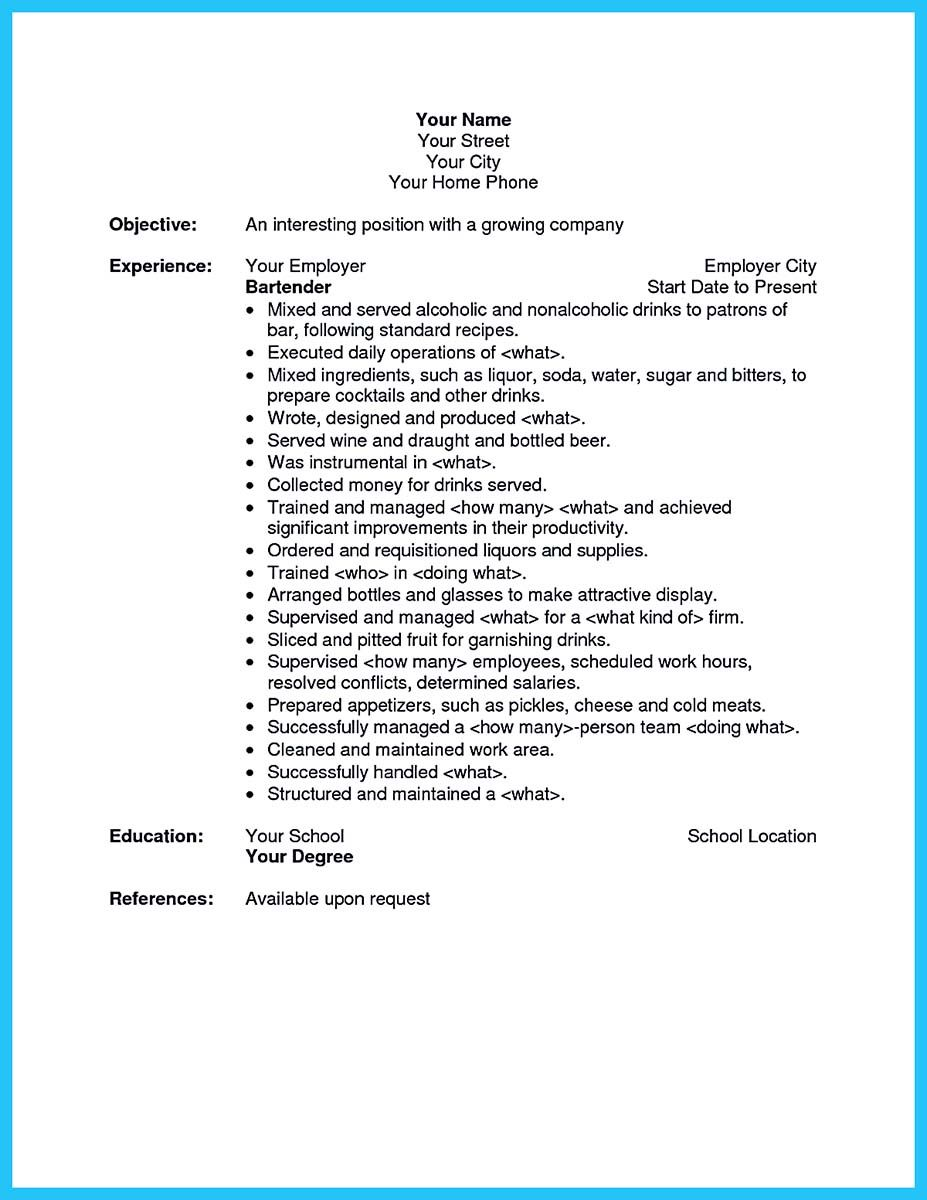 Cocktail Server Resume Skills to Convince Restaurants or