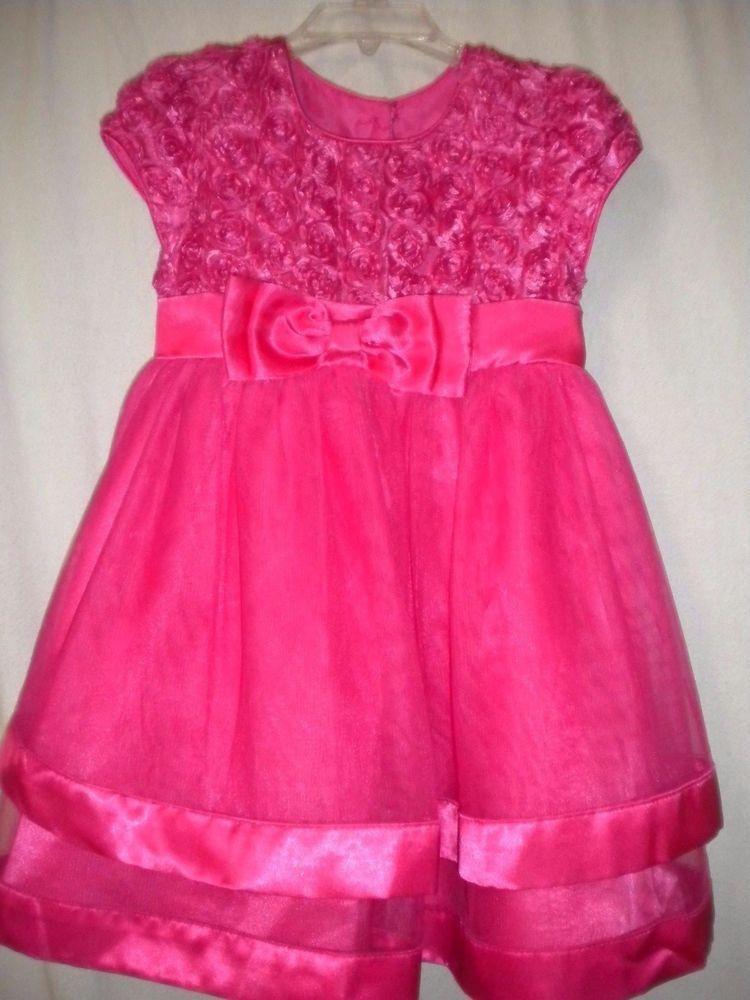 Jona Michelle Toddler Size 3T Hot Pin Embellished Rose Trim Girl Holiday Dress #JonaMichelle #Dress #FormalParty