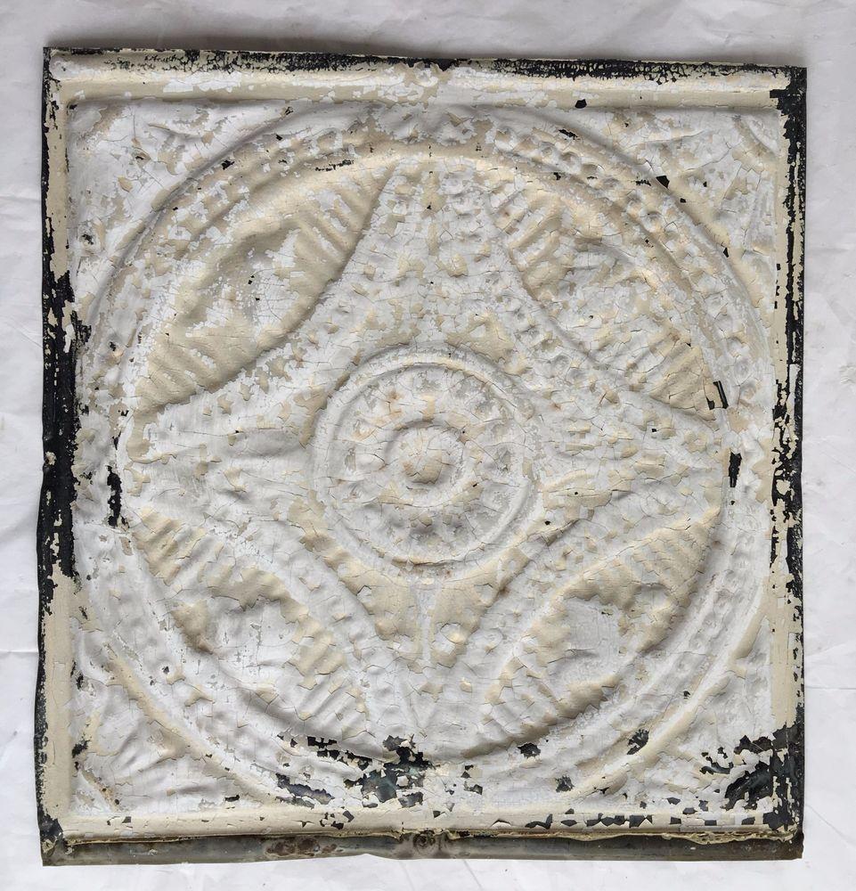 Reclaimed tin ceiling tiles choice image tile flooring design ideas reclaimed 1890s 12 x 12 antique tin ceiling tile metal ivory reclaimed 1890s 12 x 12 dailygadgetfo Choice Image