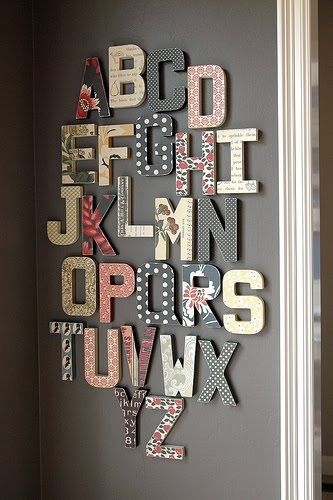 Wall Decor- scrapbook paper over cardboard letters