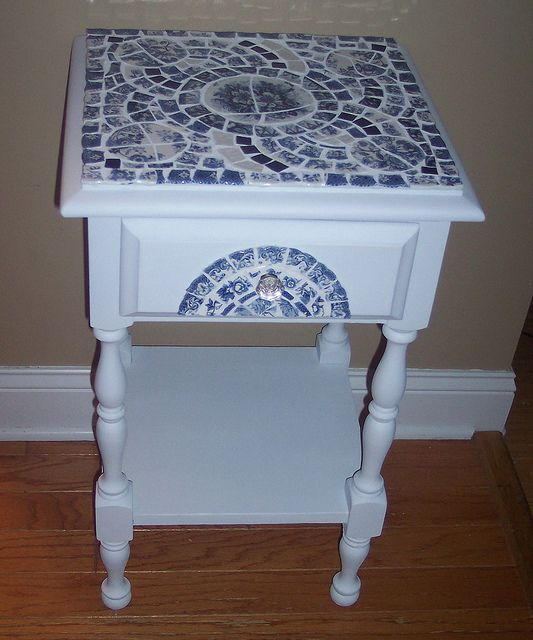 Blue White Mosaic Side Table By Uniquely Chic Mosaics Via