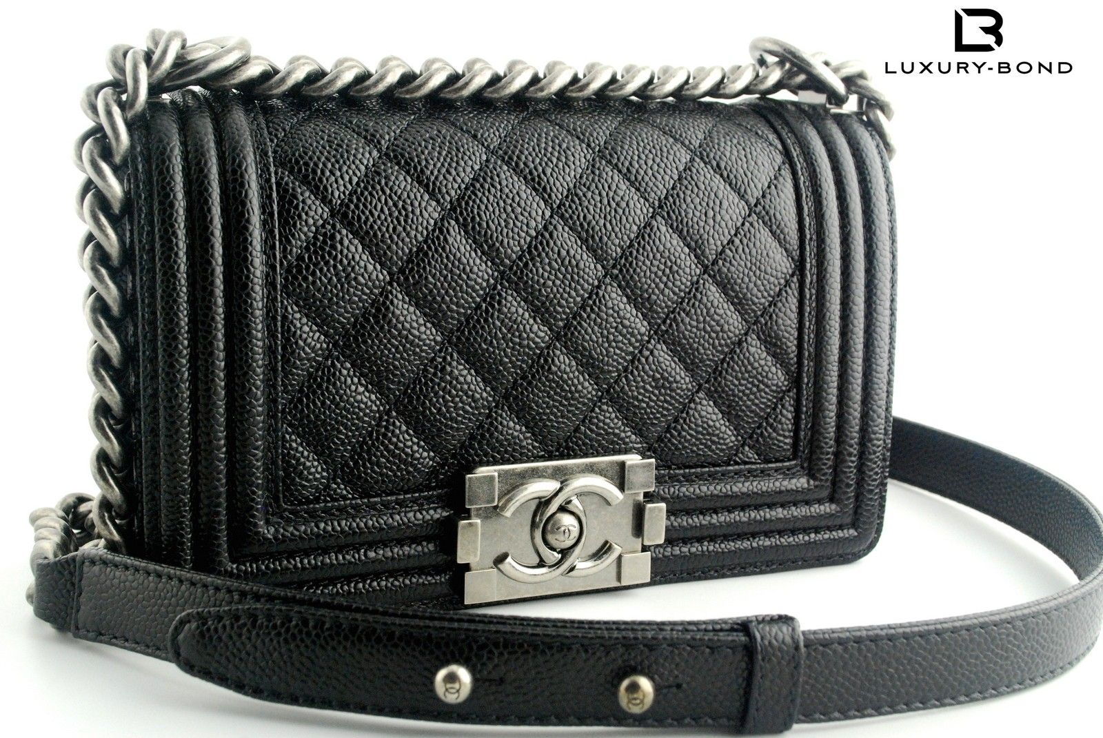 345b6c8b4cce Chanel Le Boy CAVIAR Leather Small Size Black Color Flap Bag 2014 Fall  (14B) Collection