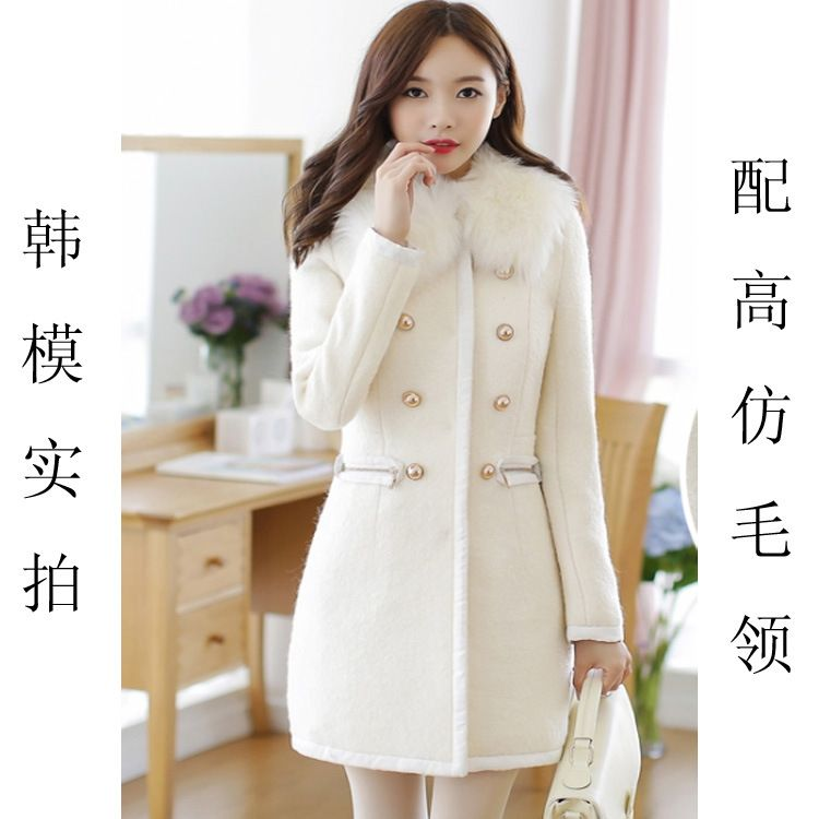 2016 Winter Korean Fashion White Coat Womens Wool Coats Fur Collar ...