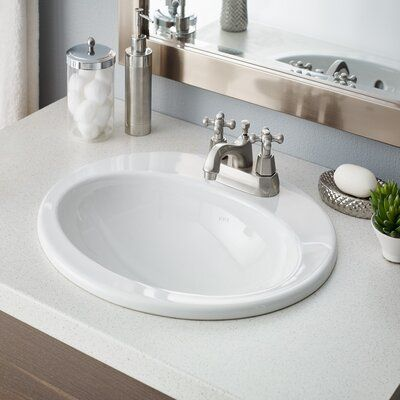 Cheviot Products Aria Vitreous China Oval Drop In Bathroom Sink