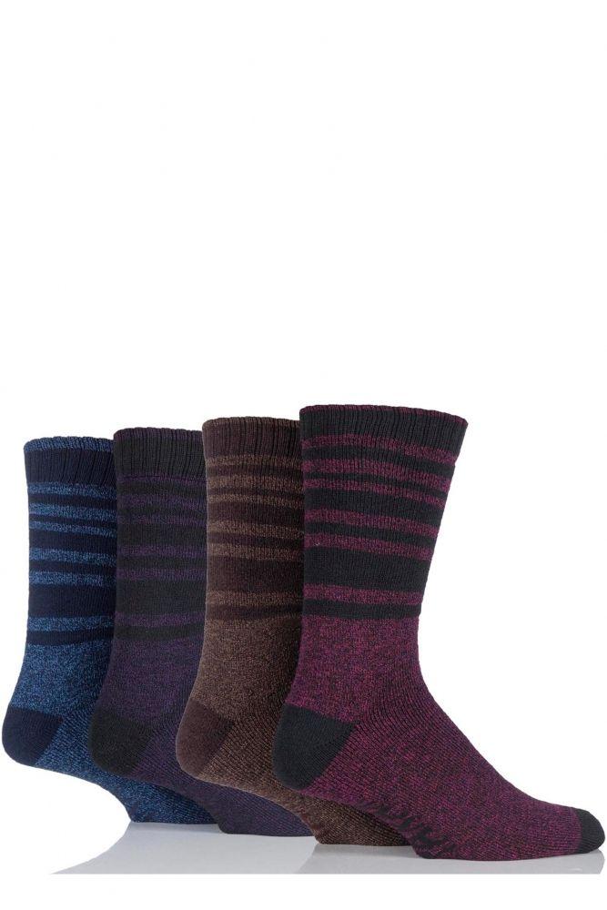 Mens 4 Pair Farah Marl Striped Cotton Blend Boot Socks £7.99 ...