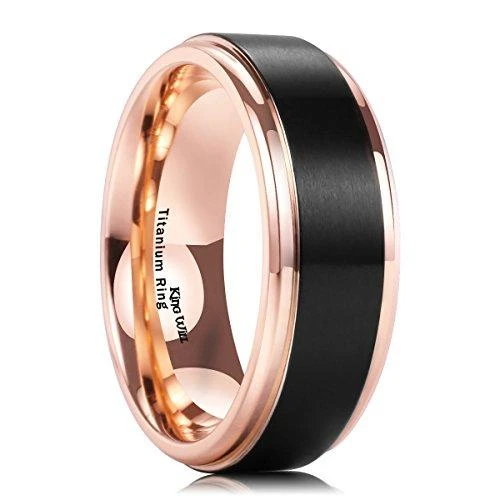 8MM Black 18k Rose Gold Plated Titanium Ring Men Matte