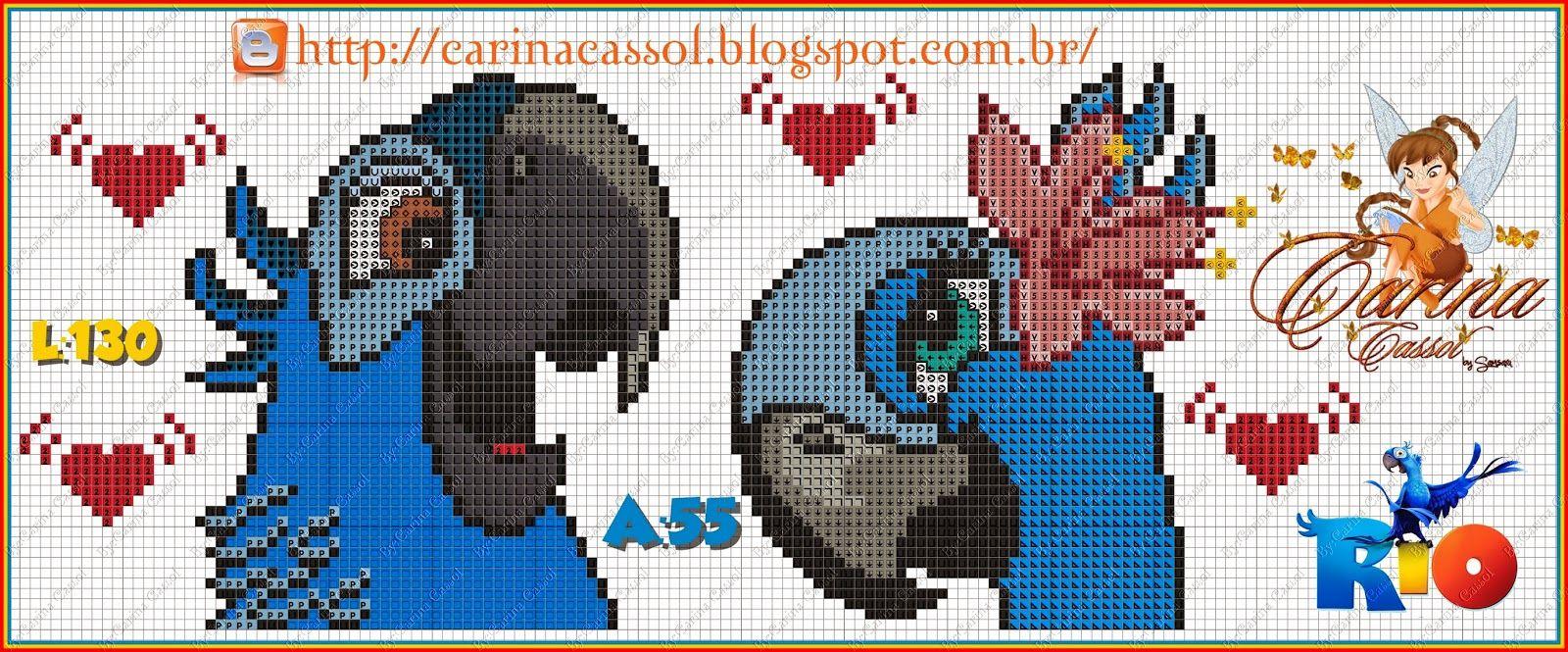 Blu e Jade | Ponto Cruz - Personagens | Pinterest | Hama, Märchen ...