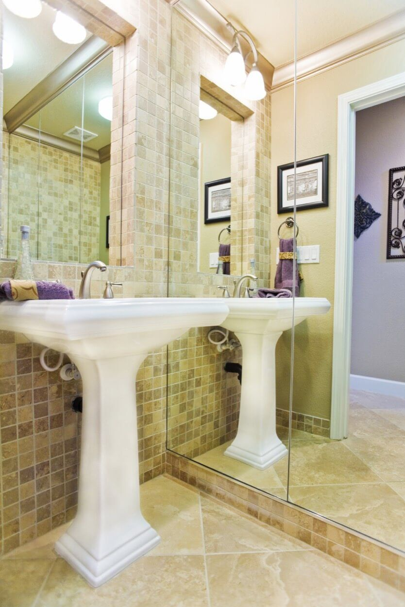 Detailed White Pedestal Sink With Neutral Colored Tile | Bathroom ...