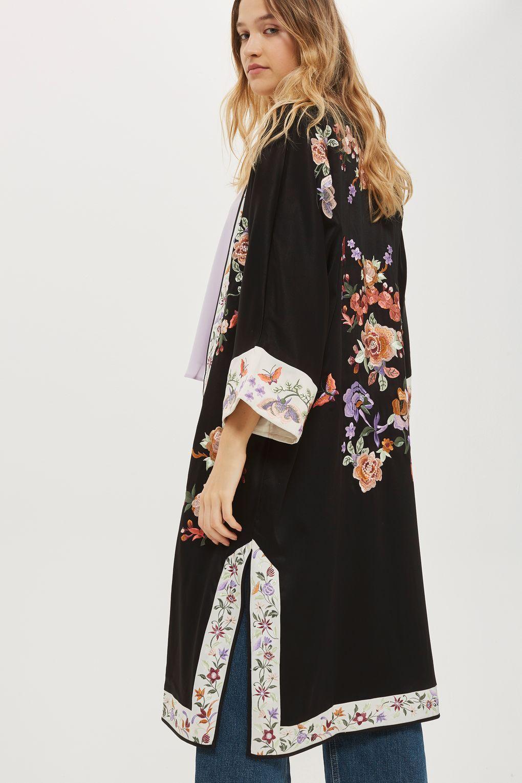 6a362ed30 Longline Embroidered Kimono in 2019   Кимоно   Kimono fashion ...