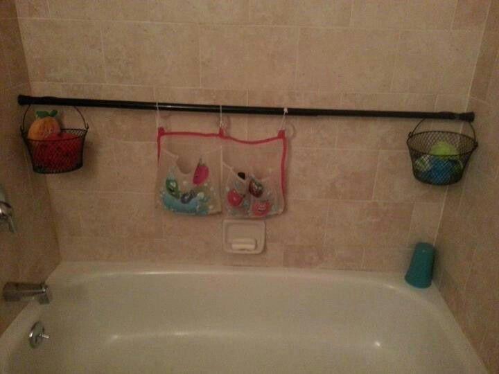 Bathroom toy storage - curtain rod | Let\'s get OrGaNiZeD ...