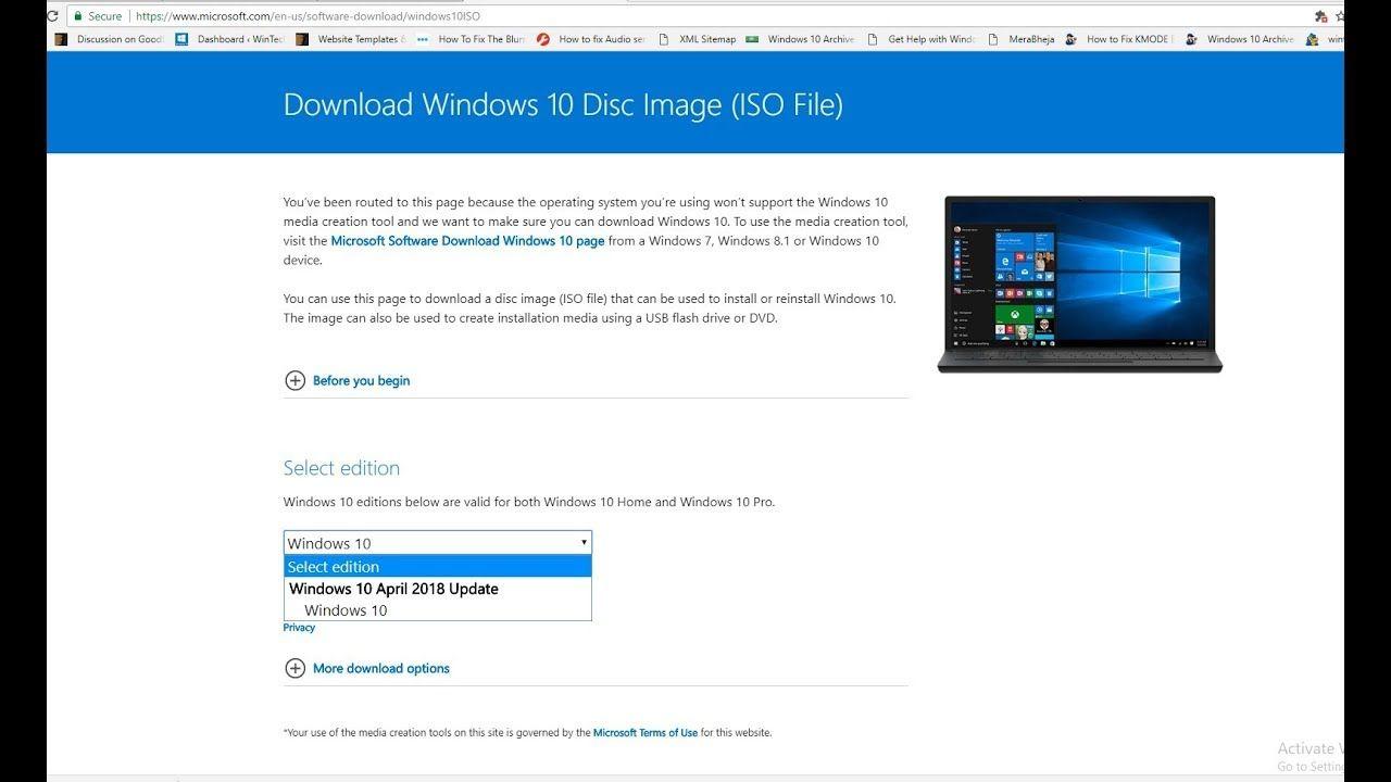 download windows 10 update 1803 iso
