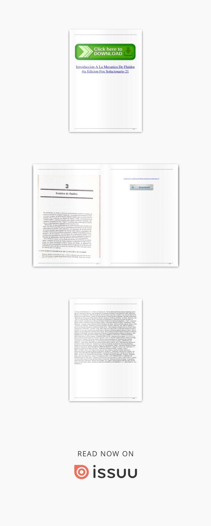 Introduccion A La Mecanica De Fluidos 4ta Edicion Fox