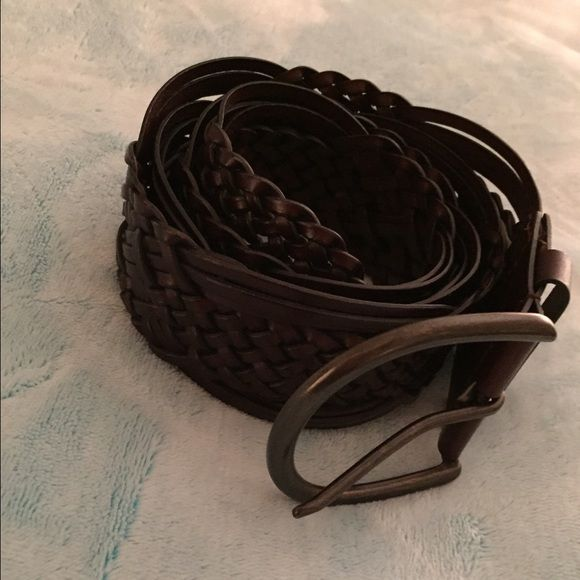 Brown chunky crosshatch leather belt Used a few times great for those maxi dresses that have no shape Target  Accessories Belts