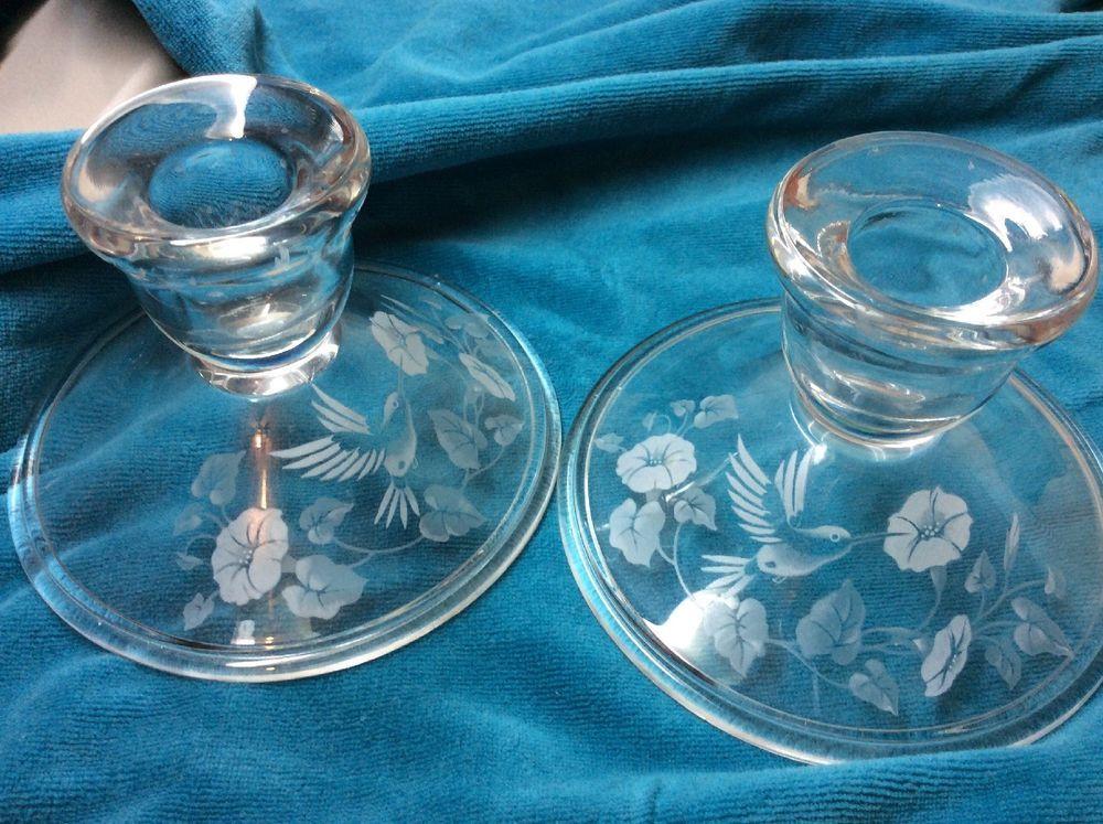 Avon Hummingbird 24 Full Lead Crystal Set Pair of