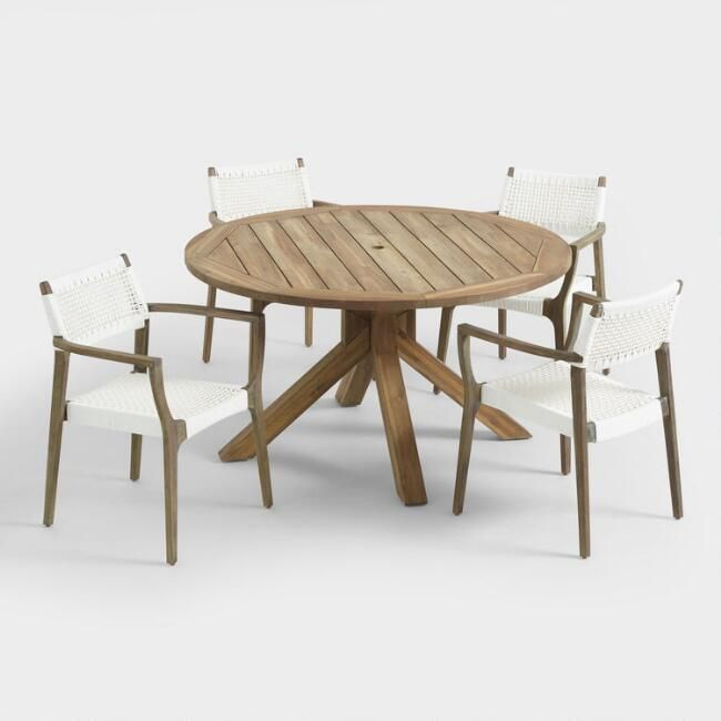 Phenomenal Round Wood Vallarta Table And Gray Rapallo Chair Collection Spiritservingveterans Wood Chair Design Ideas Spiritservingveteransorg