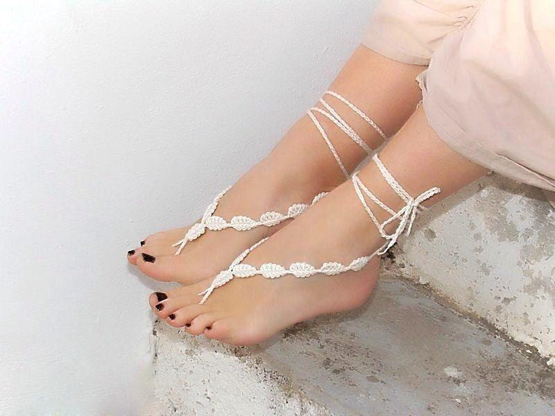 Crochet Barefoot Sandals Cream Foot Decoration Nude Shoes Wedding