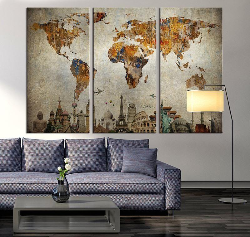 Vintage World Map Canvas Print, Large World Map Wall Art ...