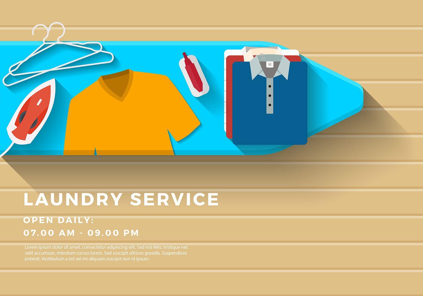 Laundry Service Banner Vector | Spanduk, Desain brosur