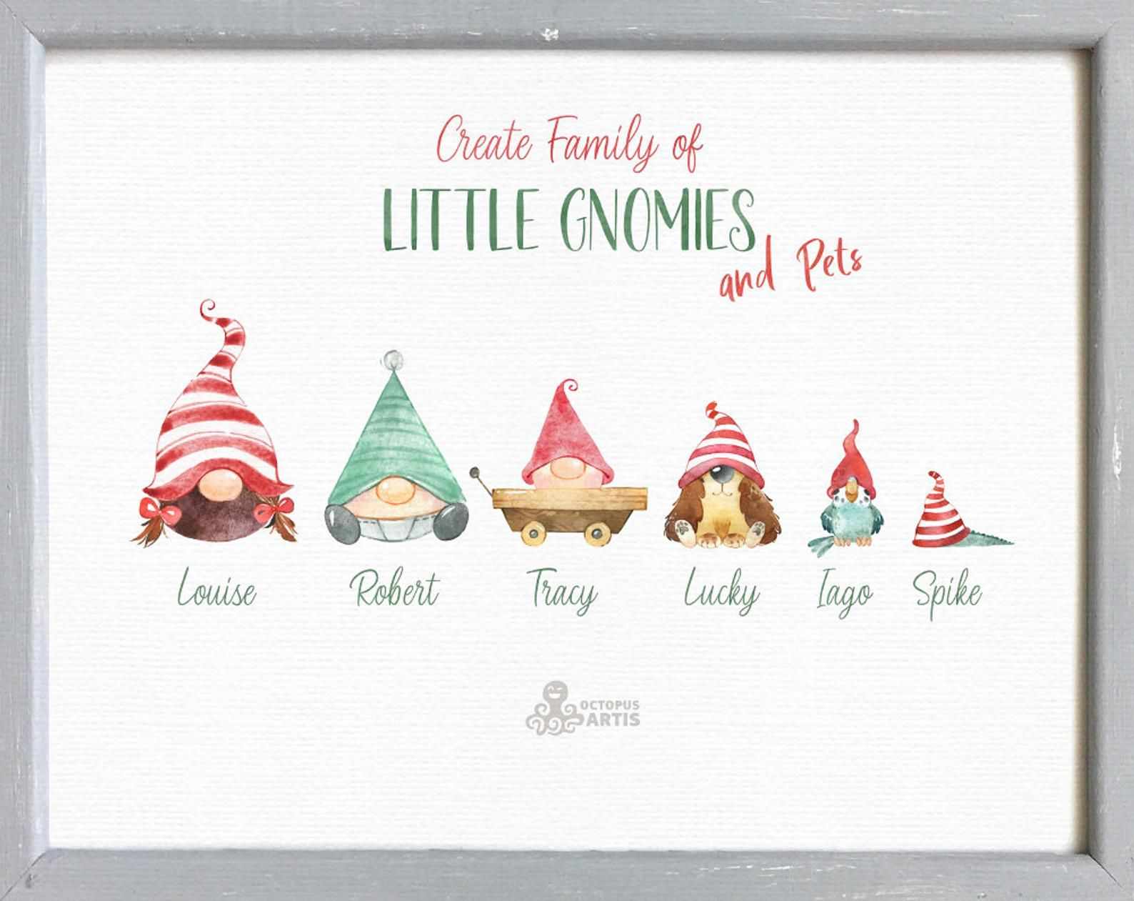 Gnomes Kids Pets Watercolor Holiday Clipart Nordic Baby Animals Child Christmas Winter Cards Nursery Art Critters Cat In 2021 Animals For Kids Holiday Clipart Small Business Gift Ideas