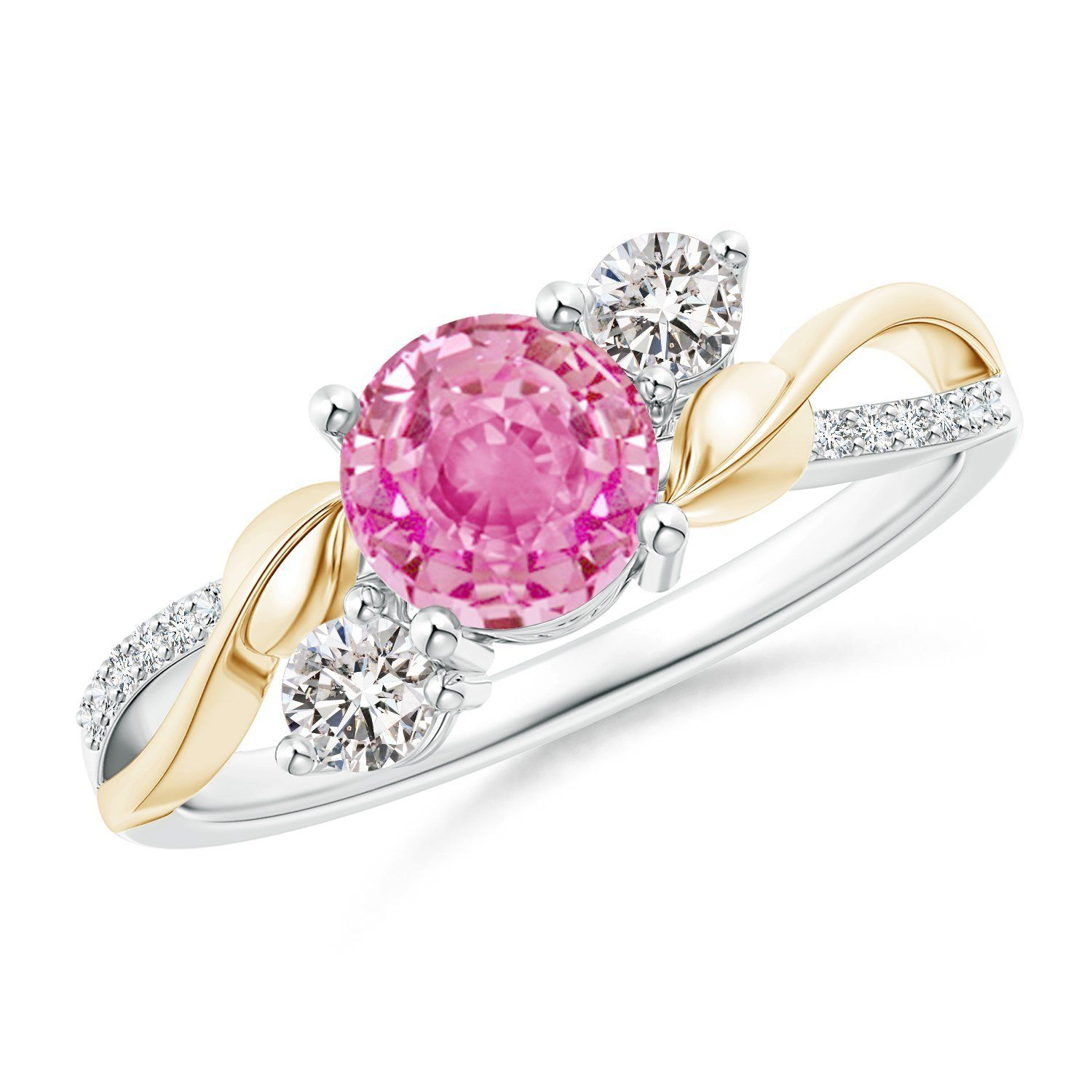 Pink Sapphire and Diamond Twisted Vine Ring in 14K White and Yellow ...