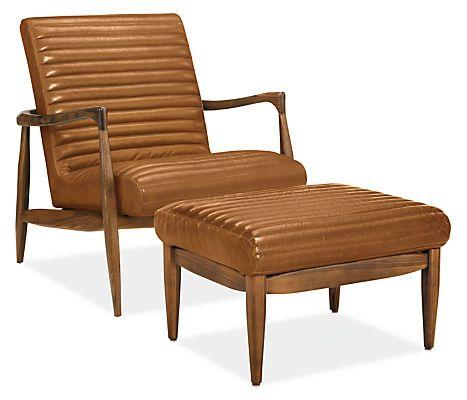 Modern Furniture Ottoman callan leather chair & ottoman | modern living room furniture