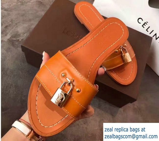 d36a63fdeecb Louis Vuitton Lock It Flat Mules Sandals 1A28N5 Cognac 2017