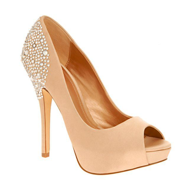 5b6062ee222 ALDO: Gorgeous peach cream shoes with rhinestones decorating the ankle/heel  area. Possible DIY idea too!